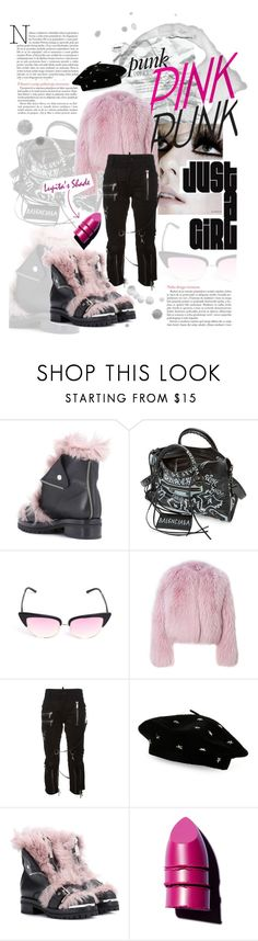 """""""Punk Princess /// Pink Punk"""" by madtrr ❤ liked on Polyvore featuring Alexander McQueen, Balenciaga, Matthew Williamson, M.A.C, Dsquared2, Steve Madden, Anastasia Beverly Hills and Lancôme"""