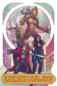 Guardians of The Galaxy - line art: Risza A. Perdhana, color: Bryan Valenza - Visit to grab an amazing super hero shirt now on sale! Comic Book Characters, Marvel Characters, Marvel Movies, Comic Character, Marvel Fan Art, Marvel Heroes, Art Nouveau, Avengers Art, Superhero Movies