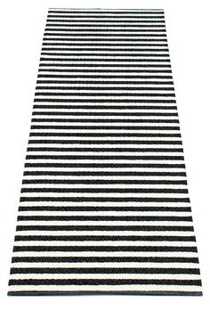 """Lisa"" rug in black, x (Pappelina) Black White Stripes, Black And White, Hair Bow Supplies, Lisa, Glitter Canvas, Leather Sheets, Striped Canvas, Black Canvas, Textiles"