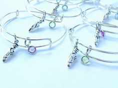 Dance  child size bangle Charm with Swarovski crystal or pearl on a silver adjustable bangle /  Appreciation Gift / Collectable Sturdy