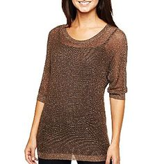 a.n.a® 3/4 Sleeve Mesh Dolman Pullover - jcpenney