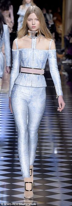 The colour palette for autumn/winter 2016 featured candyfloss pinks, metallic blue, classic black, muted grey and iridescent blue