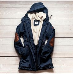 coat jacket blue jacket fleece lining outerwear clothes parka hooded winter outfits hooded jacket elbow patches windbreaker navy blue winter coat elbow patches menswear no fur patch Fashion Mode, Look Fashion, Fashion Clothes, Fashion Ideas, Looks Style, Style Me, Navy Coat, Winter Stil, Raincoats For Women