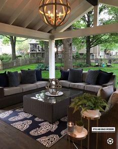 Comfy Porch Design Ideas For Backyard 38 Courtyard Landscaping, Landscaping Ideas, Mulch Landscaping, Outdoor Spaces, Outdoor Decor, Outdoor Patios, Outdoor Curtains, Backyard Patio Designs, Backyard Porch Ideas