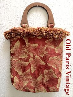 20% OFF! Vintage 1980's Brocade Butterfly Purse Handbag Wooden Handle by OldParisVintage on Etsy