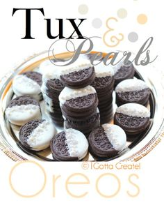 little black dress & pearls bridal shower | Gotta Create!: Tuxedo and Pearls Oreo Cookies.  Really like this idea