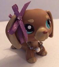 Littlest Pet Shop RARE TAN & BROWN DACHSHUND DOG BLUE EYES #1751 +Custom Collar
