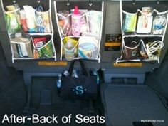 Back of van organization and other   brilliant ideas on how to travel with kids both older kids and toddlers. This is   part 1 of a 3 part series which includes packing for road trip and how to save   money on food.  Tons of great ideas in this post!
