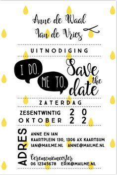 Unieke enkele save the date uitnodiging. Met Grafische print, tekstballon en stippellijnen en leuke teksten. Geheel zelf aan te passen. Gratis verzending in Nederland en België.