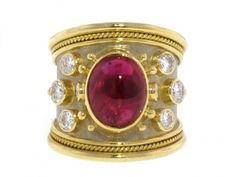 """Be a crusader for chic with this Medieval-inspired ruby """"Tapered Templar"""" ring by designer Elizabeth Gage!"""