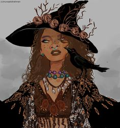 """wakaju: """" The golden death witch from my witch series, i finally sat down and did some new illustration for it!!! here are the others witches 1, 2, 3, 4, 5 , """""""