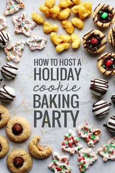 How to Host a Holiday Cookie Baking Party - post with tips and free downloadable recipes with automatic serving size scaling functionality depending on how many people will be at your party!