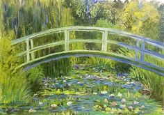 How to Paint Monet Bridge over waterlilies pond Saturday Live Acrylic Painting Tutorial #angelafineart