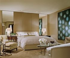 Betting the House : Architectural Digest - Floor to ceiling mirrors flanking bed.