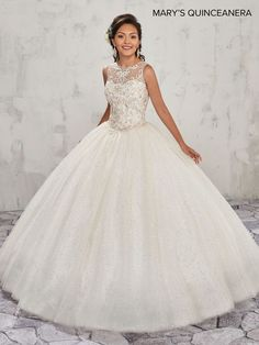 Get the beautiful Halter Illusion Quinceañera Dress by Mary's Bridal and other amazing Mary's quinceañera dresses and accessories on Mi Padrino. White Quinceanera Dresses, Wedding Dresses, Quinceanera Collection, Sweet 15 Dresses, Mary's Bridal, Quince Dresses, Ball Gown Dresses, Birthday Dresses, Ladies Dress Design