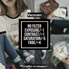 VSCO Cam Filter Settings for Instagram Photos | Filter No