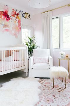 Feminine Pink and White Nursery with Floral Accent Wallpaper