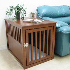 Crown Pet Medium Mahogany Wooden Dog Kennel Cat Cage Indoor Room End Table Crate