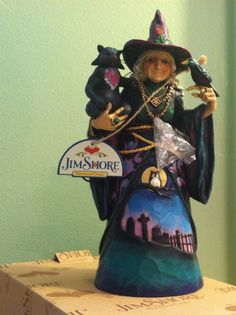 Jim Shore Halloween -- Witchful  Thinking -- Cute Witch Figurine With Crow & Cat