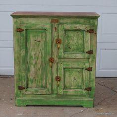 Green and cream nostalgic ice box cabinet by fezfactiry on Etsy