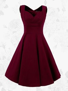 1950s Burgundy Vintage Square Neck A-line Solid Dress(Get it within 3 Days)