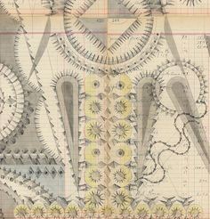 Graphite and colored pencil on antique ledger book pages via Louise Despont | Nicelle Beauchene