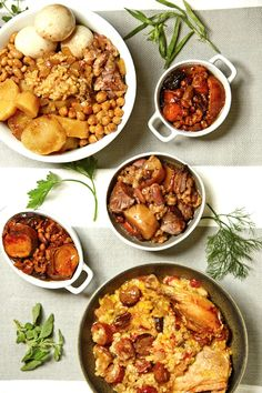 Modern versions (including a vegetarian option) of the traditional Jewish slow-cooked crockpot cholent stew— a staple of Shabbat cooking!
