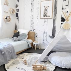 I swear my customers have some of the most stylish rooms ever  This roomspo brought to you by @sipsopkids featuring our grey linen #knotcushion