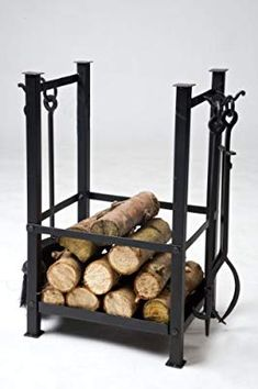 Log Basket with Fireplace Tools, a very clever design. This delightful iron log rack, will sit hear your fire holding a substantial number of logs, and on the sides sits a complete set of iron fireplace tools, consisting of long handled brush and pan Indoor Log Holder, Indoor Log Storage, Wood Storage, Metal Log Basket, Fire Surround, Winter Cabin, Fireplace Tools, Clever Design, Furniture Making