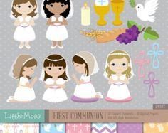 Boy First Communion Digital Clipart and Papers Communion Boy
