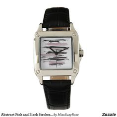 Abstract Pink and Black Strokes Ladies Watch