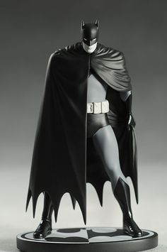 """Black and White Batman statues. Based on the Art of David Mazzucchelli; Sculpted by Jim McPherson. Appearing in black and white, it's the Caped Crusader as he is seen in one of the most influential Batman stories of all time, BATMAN: YEAR ONE!  The statue measures approximately 7.75"""" high x 4.5"""" wide x 2.75"""" deep, is painted in monochromatic tones."""