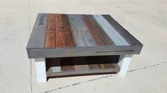 Reclaimed wood coffee table with multi-colored stain and lower shelf.  Farmhouse-style,  shabby-chic style furniture,  fixer upper style by AveryStDesignCo on Etsy https://www.etsy.com/listing/275379018/reclaimed-wood-coffee-table-with-multi