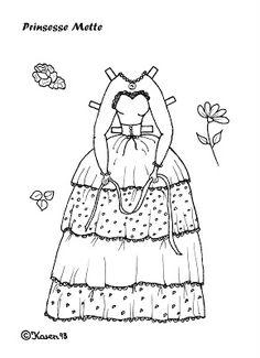 Karen`s Paper Dolls: Mette 1-4 Princess Paper Doll to Print and Colour. Mette 1-4 Prinsesse påklædningsdukke til at printe og farvelægge.
