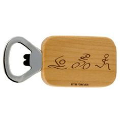 """Swim Bike Run Figures Maple Bottle Opener by Gone For a RUN. $14.99. Maple Wood Bottle Opener. Wood area measures 2.25"""" x 1.5"""". Laser engraved design. If you like the back personalized please visit our parent website GoneForaRUN.com. Let this maple wood bottle opener help you celebrate those special accomplishments. At our website GoneForaRUN.com we offer the option to personalize the opposite side to make it even more personal!"""