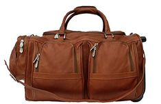 Piel Leather Traveler Duffel Bag with Pockets on Wheels in Saddle -- You can get additional details at the image link. (This is an affiliate link) #TravelDuffels