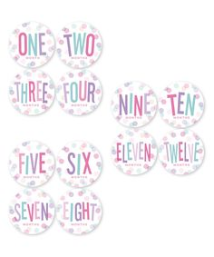 Pastel Dot Monthly Baby Sticker - Set of 12