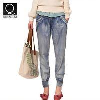 Qideal-l 2016 verano nueva añada llegada bordado Denim Jeans mujeres regado marca ocasional del todo fósforo elástico de la cintura para Jeans