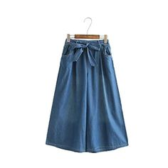 YIVIEW Women's Elastic Midi Waist Culottes Soft Denim Palazzo Capri Pants (Dark Blue)  Special Offer: $24.99  222 Reviews Model Information : Height:161cm/5'3″,Waist:87cm/34″,Hip:98cm/38.5″ Warm Tips: 2. Please refer our size info before ordering 3. Please...