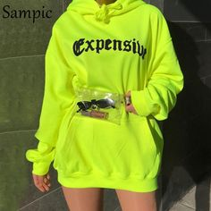 Sampic women print oversize casual neon hoodies sweatshirts loose long sleeve hoodies autumn 2019 - - Source by Neon Outfits, Teenage Outfits, Teen Fashion Outfits, Swag Outfits, Cute Casual Outfits, Mode Outfits, Stylish Outfits, Fresh Outfits, Tomboy Outfits