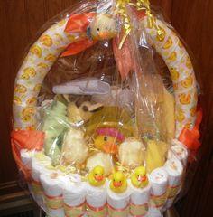 Duckie Diaper Basket Baby Shower Centerpiece by teresaphillips, $45.00