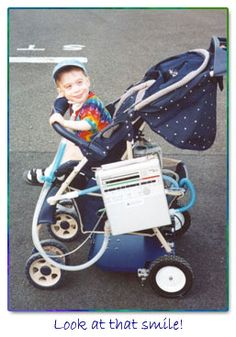 Great Foundation called A Leg up for Kids, adapts typical strollers to carry medical equipment such as ventilators!  Cute kid! : )