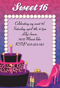 "Sweet 16"" printable invitation. Customize, add text and photos. print"
