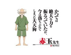 Akadama-sensei (Nyoigatake Yakushibou), An old tengu who was a longtime teacher of the Shimogamo brothers; in return, the brothers check up on him from time to time and take care of him like family, cleaning up his messy apartment and bringing him supplies and liquor.