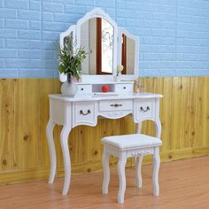 Shop for 3 Mirrors Dresser Wood Vanity Table and Dressing Stool Set. Get free delivery On EVERYTHING* Overstock - Your Online Furniture Store! 5 Drawer Dressing Table, Dressing Stool, White Bedroom Furniture, Wood Bedroom, Bedroom Desk, Furniture Redo, Baby Furniture, Furniture Design, Desktop Drawers