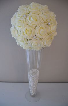 10 IVORY Real Touch Roses Flower Ball with Bling by KimeeKouture