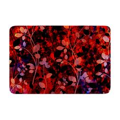 "Ebi Emporium """"Amongst the Flowers - Summer Nights"""" Red Black Memory Foam Bath Mat"