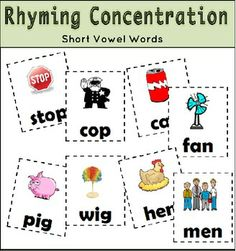 Rhyming Concentration Game 8 pages - Rhyming Concentration has 24 pairs of cards to match short vowel words. Each card has a picture to go along with each word. Use the cards to play a game of Concentration, Go Fish, or at a reading center. Great for small group or an assessment too!.