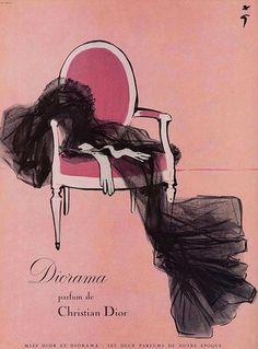 Rene Gruau  50s ad : Diorama, a Christian Dior perfume by Addie via Flickr