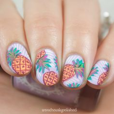 Wondrously Polished: Erin Condren Inspired - Pineapple Punch Nail Art